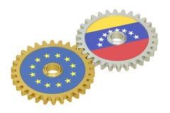 De relatiesconcept van de EU en van Venezuela, vlaggen op toestellen 3D renderi Stock Afbeelding