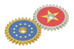 De relatiesconcept van de EU en van Vietnam, vlaggen op toestellen het 3d teruggeven Stock Afbeeldingen