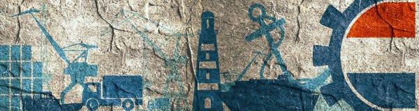 De relatieve geplaatste pictogrammen van de ladingshaven De vlag van Nederland in toestel Royalty-vrije Stock Fotografie