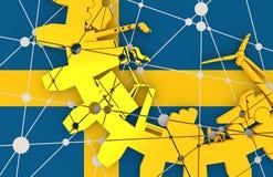 De relatieve silhouetten van de toestelindustrie De Vlag van Zweden Royalty-vrije Stock Afbeeldingen