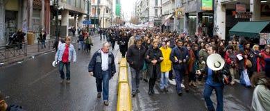 De rellen 18_12_08 van Athene Stock Afbeelding