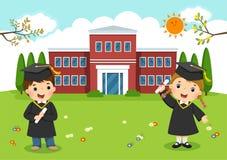 De remise des diplômes heureux L'école badine l'obtention du diplôme devant l'école illustration stock