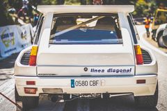 De Renault maxi 5 turbo rassemblement blanc du copa Photos libres de droits