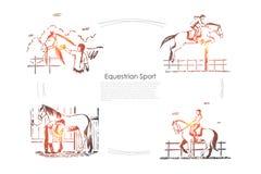 De renbaanrassen, jockey op horseback, ruiter in zadel, paarden tonen, hengst in het malplaatje van de schuurbanner royalty-vrije illustratie
