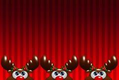 De rendieren van het Kerstmisbeeldverhaal met hulst die omhoog over rode backg kijken Stock Fotografie