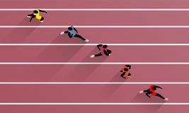 De rennende Atleten op Atletisch Ras volgen Stock Foto's