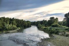 De Reno-rivier in Bologna stock foto's