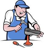 De reparatie van de de schoenmakersschoen van de schoenmaker Stock Afbeeldingen