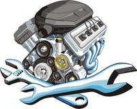 De reparatie van de motor van een auto Stock Afbeelding