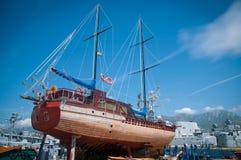 De reparatie van de zeilboot Stock Afbeelding