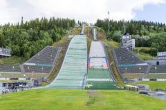 De reparatiebemanningen treffen voor de concurrentie van het de zomerschansspringen op 27 Juni, 2016 in Lillehammer, Noorwegen vo Royalty-vrije Stock Fotografie