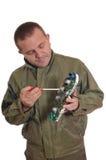 De reparatiedashboard van de mens Stock Fotografie