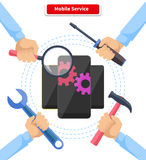 De Reparatiegadgets van de concepten Mobiele Dienst Stock Afbeeldingen