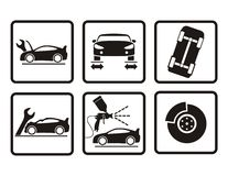 De reparatiepictogrammen van de auto Stock Foto's