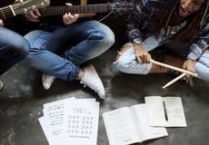 De de Repetitiegitaar van de muziekband zingt royalty-vrije stock afbeelding