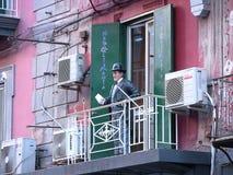 ² de representación simulado de Totà en el balcón foto de archivo