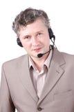 De representatieve dragende hoofdtelefoon van de klant. Stock Afbeelding