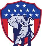 De republikeinse Vlag van de V.S. van de Mascotte van de Olifant Stock Fotografie