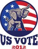 De republikeinse Vlag van de V.S. van de Mascotte van de Olifant Stock Foto's