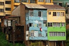 De Residentailbouw in oude stad van Valparaiso Chili stock fotografie
