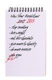 De Resoluties van het nieuwjaar - opnieuw, geïsoleerdek lijst Stock Foto