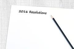 de resolutiewoord van 2016 op lege document achtergrond Royalty-vrije Stock Afbeeldingen