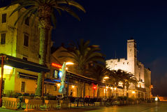 De restaurants van de nacht en koffie van oude stad Stock Afbeelding