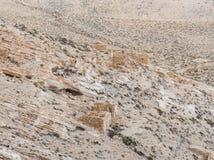 De resten van economische uitbreidingen onder de heuvel waarop de middeleeuwse vesting Ash Shubak zich dichtbij Al Jaya-stad in J stock afbeelding