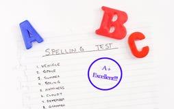 De Resultaten van de Test van de spelling Royalty-vrije Stock Foto