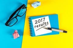 de resultaten van 2017 Het concept van het jaaroverzicht Tijd om doelstellingen samen te vatten en te plannen voor volgend jaar Royalty-vrije Stock Foto