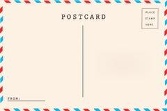 De retour de la carte postale de blanc de par avion Photo stock