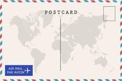 De retour de la carte postale de blanc de par avion Images libres de droits
