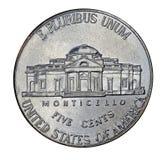 De retour du nickel des Etats-Unis image stock