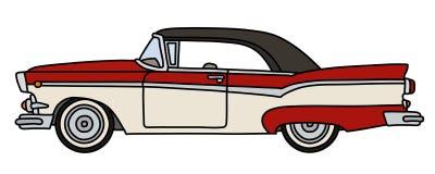 De retro rode en witte Amerikaanse auto vector illustratie