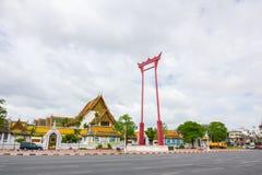 De reuzeschommeling is oriëntatiepunt dichtbij Suthat-Tempel, Bangkok, Thailand Royalty-vrije Stock Afbeeldingen