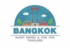 De Reuzeschommeling (SAO CHING CHA) van Bangkok en Tuk tuk, Thailand Stock Afbeelding
