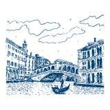 De Rialto-Brug in Venetië, Italië Vector Illustratie