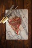De rib van het rundvleeslapje vlees met uitstekende vleesvork Stock Fotografie