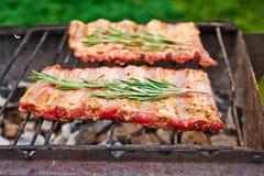 De ribben van het ruwe varkensvlees bij de grill Stock Afbeelding