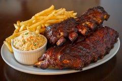 De ribben van het varkensvlees steunen maaltijd Stock Fotografie