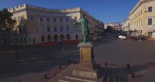 de Richelieu公爵纪念碑在傲德萨(空中) 股票视频
