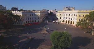 de Richelieu公爵纪念碑在傲德萨(空中) 股票录像