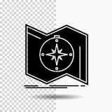 De richting, onderzoekt, brengt in kaart, navigeert, het Pictogram van navigatieglyph op Transparante Achtergrond Zwart pictogram royalty-vrije illustratie