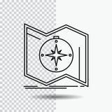 De richting, onderzoekt, brengt in kaart, navigeert, het Pictogram van de navigatielijn op Transparante Achtergrond Zwarte pictog royalty-vrije illustratie