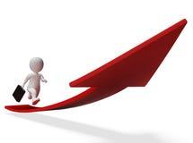 De richting streeft toont Pijlteken en vooruit het 3d Teruggeven Stock Foto