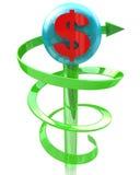 Richting van het dollarteken Royalty-vrije Stock Foto's