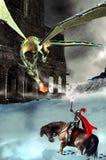 De ridder, de draak en het kasteel Stock Afbeeldingen