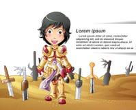 De ridder en de zwaarden vector illustratie