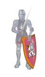 De ridder met opgeheven werpt Royalty-vrije Illustratie