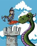 De ridder van het beeldverhaal die op zijn bedelaar door een draak wordt gebrand Stock Foto